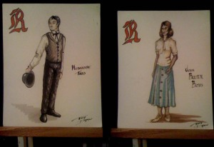 Renderings created by Mason Gross alumna and costume designer Victoria Depew.