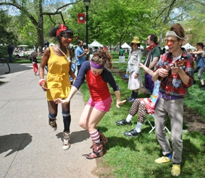 Students from Mason Gross School of the Arts clowning around on Rutgers Day