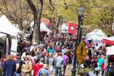Crowds walk along Voorhees Mall during Rutgers Day